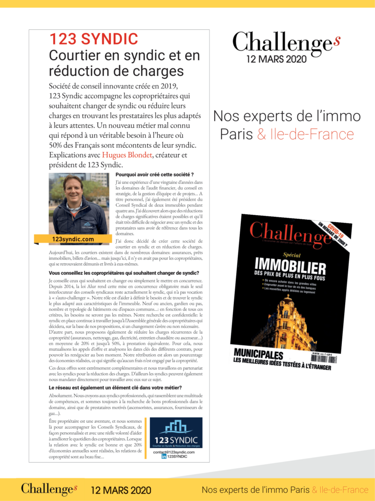 123syndic magazine Challenges immobilier