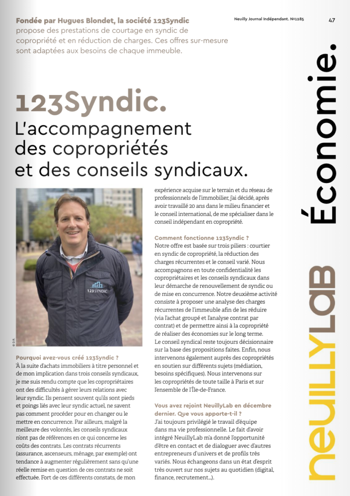 Neuilly Journal Indépendant article 123syndic